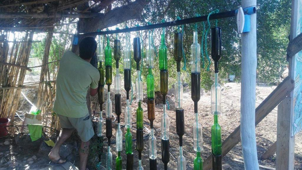 making a glass bottle wall